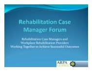 Rehabilitation Case Managers and Workplace ... - Comcare