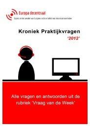 Kroniek Praktijkvragen 2012 - Europa decentraal