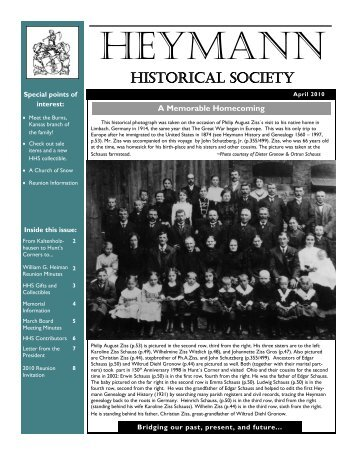 Spring 2010 Newsletter - Heymann Historical Society