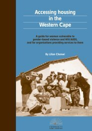 Accessing housing in the Western Cape - Community Law Centre