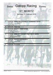 21. Februar 2010 ST. MORITZ Rennen 1 - Galopp Racing Forms