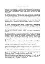 Le rôle de la commande publique Les performances énergétiques ...