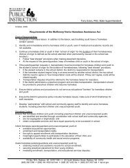 Requirements of the McKinney-Vento Homeless Assistance Act