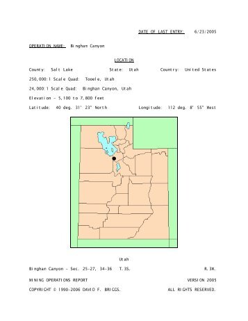 Bingham Canyon - Utah, United States - Mining Operations Report