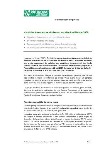 Vaudoise Assurances réalise un excellent millésime 2006