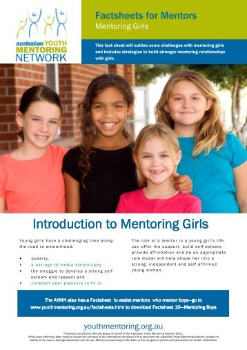 Factsheets for Mentors - Australian Youth Mentoring Network