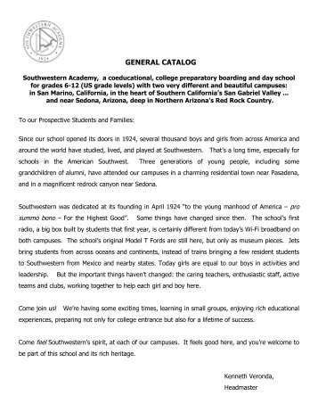 General Catalog 2010 - Southwestern Academy