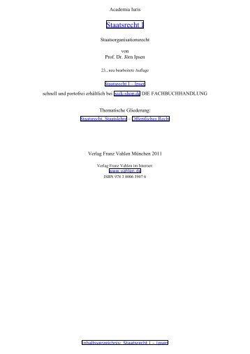 Staatsrecht I - Ipsen, Sachverzeichnis