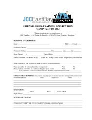counselor-in-training application camp tzofim 2012 - JCC East Bay