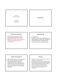 Discussion Serotonin syndrome Epidemiology Action of serotonin ...