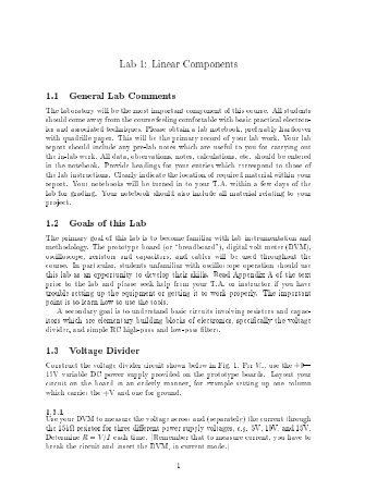 Lab 1: Linear Components 1.1 General Lab Comments 1.2 Goals of ...