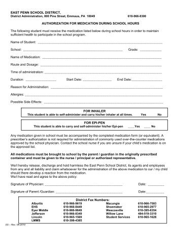 Authorization for Medication Form - East Penn School District