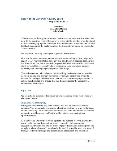 Report of the University Advisory Board Big Issues - Lund University