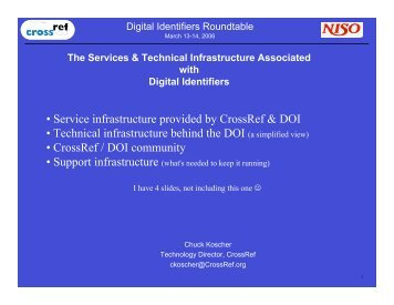 • Service infrastructure provided by CrossRef & DOI ... - NISO