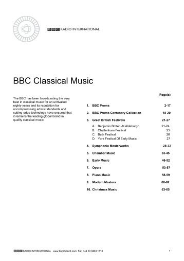 BBC Classical Music Catalogue - BBC Radio International