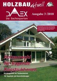 Neue Kundenzeitschrift Holzbau aktuell Nr. 3 2010 - DAEX GmbH