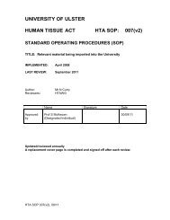 UNIVERSITY OF ULSTER HUMAN TISSUE ACT HTA ... - Research
