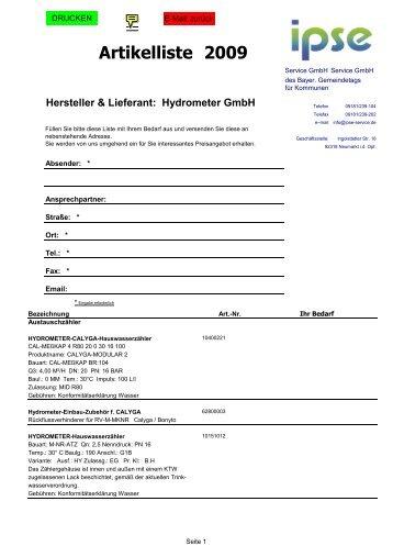Artikelliste Hydrometer 2010 - GIPS Projekt