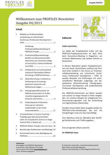 4. PROFILES Newsletter - Institut für Unterrichts- und ...