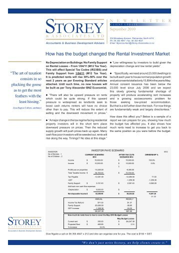 How has the budget changed the Rental Investment Market - Storey ...