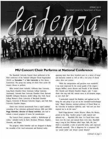 MU Concert Choir Performs at National Conference