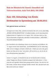 Anita Tack, Rede zum 100 - Die Linke.