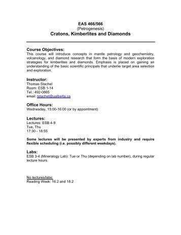 Cratons, Kimberlites and Diamonds - University of Alberta