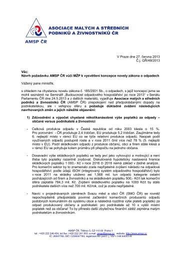Vážená paní - Asociace malých a středních podniků a živnostníků ČR