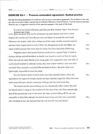 All Worksheets » Pronoun Antecedent Agreement Worksheets - Free ...