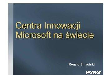 Centra Innowacji Microsoft na świecie - Centrum Innowacji Microsoft