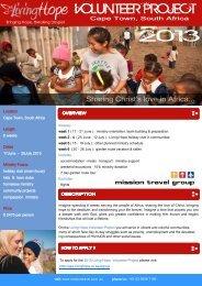 Cape Town Volunteer Program 2013 - Mission Travel