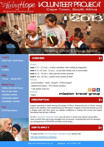 Cape Town Volunteer Program 2013 - Mission Travel
