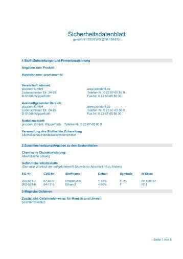 Sicherheitsdatenblatt - picodent