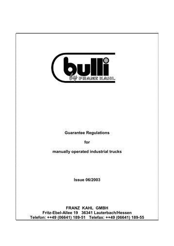 Guarantee Regulations for manually operated industrial ... - fk-shop.biz