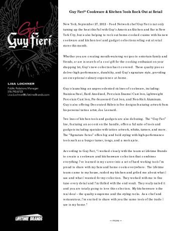 Guy Fieri® Cookware & Kitchen Tools Rock Out at ... - Lifetime Brands