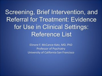 Screening, Brief Intervention, and Referral for Treatment ... - PCSS-O