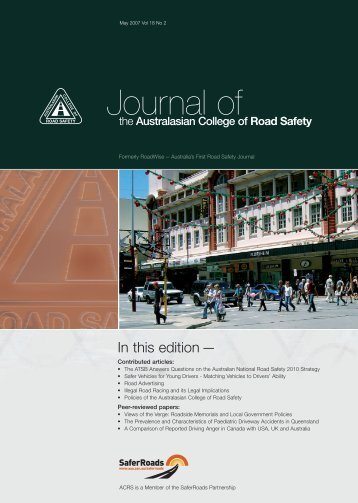 May 2007 Vol 18 No 2 - Australasian College of Road Safety