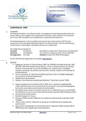 JAARVERSLAG 2008 - Nederlands Platform voor Waterrecreatie