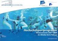 Hochschulsportprogramm - Hochschulsport - Universität Oldenburg