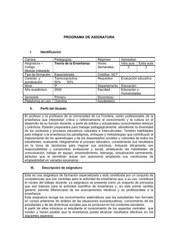 PROGRAMA DE ASIGNATURA - Webmail Universidad de la Frontera