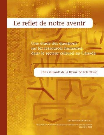 Faits saillants de la Revue de littérature - Conseil des ressources ...