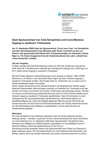 Shortstory Crans-Montana und der Club Soroptimist - solidarit'eau ...