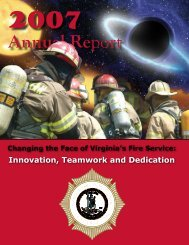 VDFP 2007 Annual Report - Virginia Department of Fire Programs