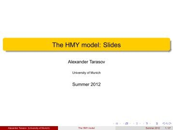 The HMY model: Slides