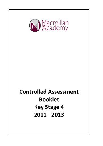1.1 Controlled Assessments Booklet - Macmillan Academy