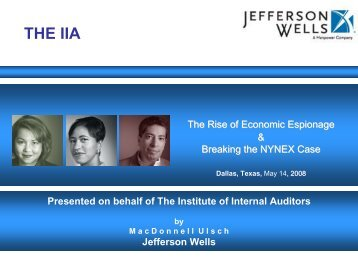 The Rise of Economic Espionage & Breaking ... - IIA Dallas Chapter