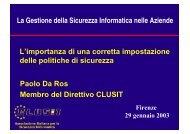 La Gestione della Sicurezza Informatica nelle Aziende L ... - Clusit