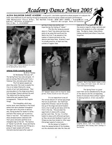 Academy Dance News 2005 - Latin and Ballroom Dancing on Maui