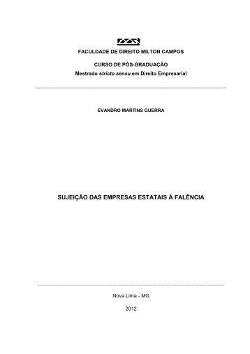 Sujeição das empresas estatais à falência - Milton Campos