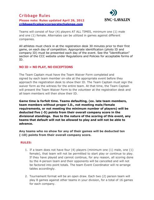 Cribbage Rules 2012 pdf - Calgary Corporate Challenge